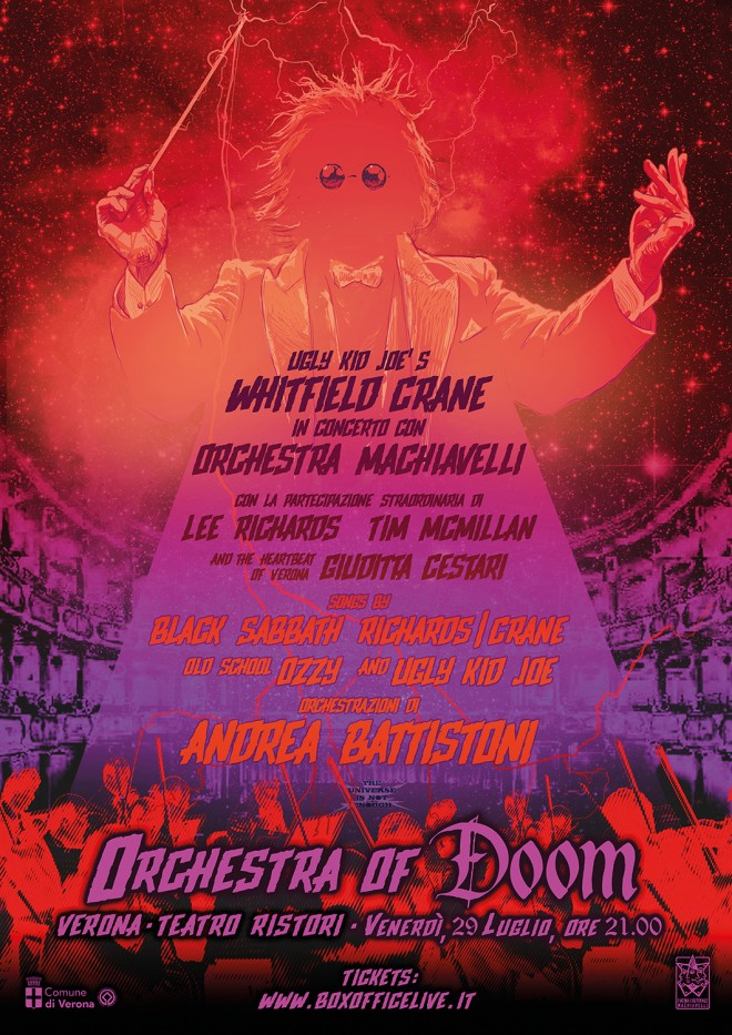 "Whitfield Crane und das Orchestra Machiavelli spielen Black Sabbath Richards-Crane Ozzy und Ugly Kid Joe als das ""Orchestra of Doom"" in Verona"